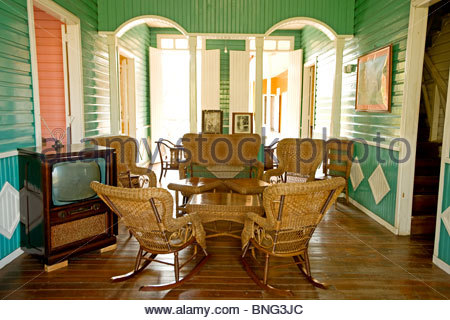 Hamlet belonging to the Castro family,where Fidel was born; here his house and the living room. Biran,province of - Stock Photo