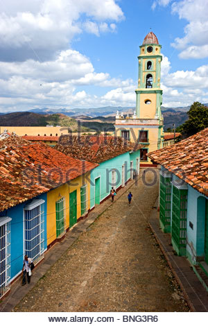 The steeple of the museum Lucha contra Los Bandidos,Trinidad,province of Sancti Spiritus,Cuba - Stock Photo