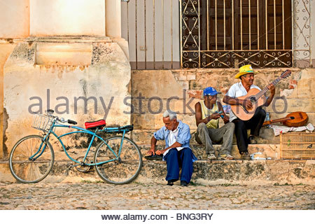 Street musicians. Trinidad,province of Sancti Spiritus,Cuba - Stock Photo
