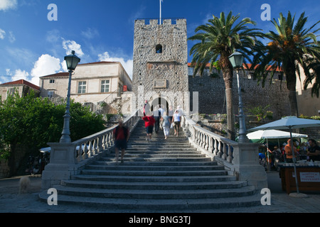 The land Gate entrance to korcula Old Town Dalmatia Croatia - Stock Photo