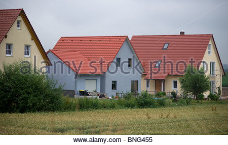 Typical German houses in a village Bavaria Germany - Stock Photo