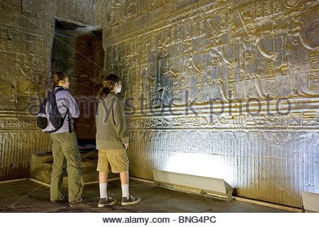 Temple of Edfu dedicated to the falcon-god Horus. Tell el-Balamoun,Egypt Stock Photo