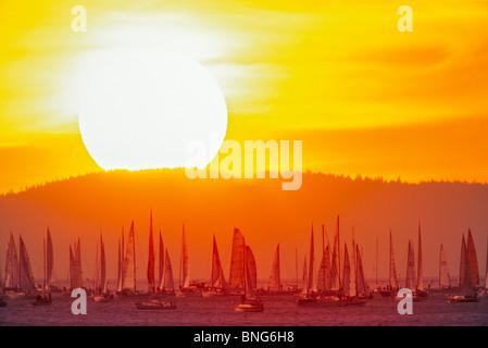 Sailboats racing at sunrise, Swiftsure Yacht Race, Victoria, Vancouver Island, British Columbia, Canada - Stock Photo
