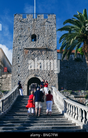 Veliki Revelin Tower Korcula Old Town Dalmatia Croatia - Stock Photo
