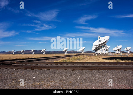 VLA's VERY LARGE ARRAY sit on the PLAINS of San Augustine in New Mexico, USA - Stock Photo