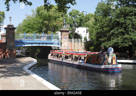 Canal Boat at Little Venice London summer 2010 - Stock Photo