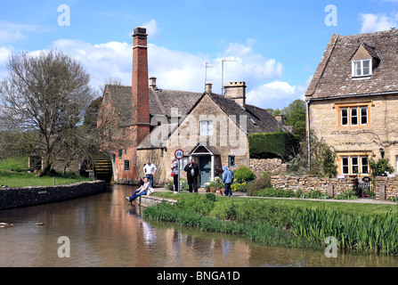 Lower Slaughter water mill by the River Eye, Lower Slaughter, Gloucestershire - Stock Photo