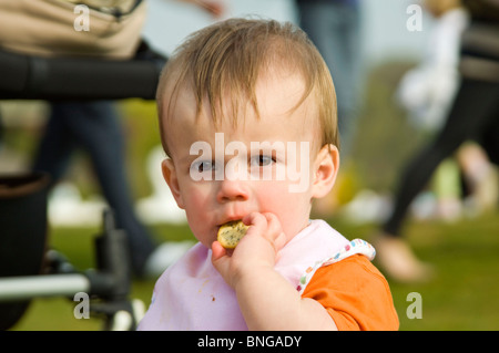 Horizontal close up portrait of a little boy sitting outside at a picnic eating a cracker or biscuit. - Stock Photo