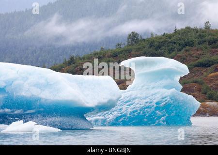 USA; Alaska; Juneau; Mendenhall Glacier; Iceberg; Mendenhall Lake - Stock Photo