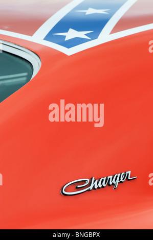 Replica General Lee 'Dukes of Hazzard' American Dodge Charger TV car - Stock Photo