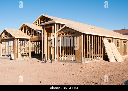 A new wood frame house is under construction in Arizona. - Stock Photo