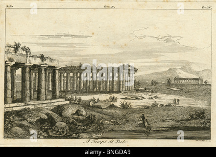 Circa 1810 engraving of Greek ruins in Italy, 'Tempi di Pesto.' - Stock Photo