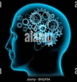 Close-up of a man's head with gears turning inside - Stock Photo