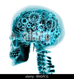 Blue x-ray of the brain and skull with gears turning inside - Stock Photo