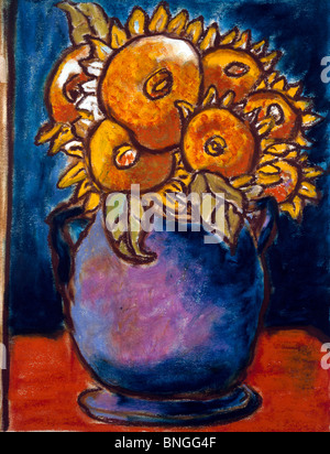 Still Life with Sunflowers II,  by Ashton Hinrichs,  20th Century - Stock Photo