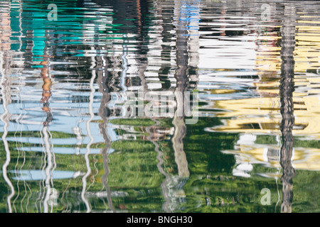 Reflection of trees in water, Elfin Cove, Alaska, USA - Stock Photo