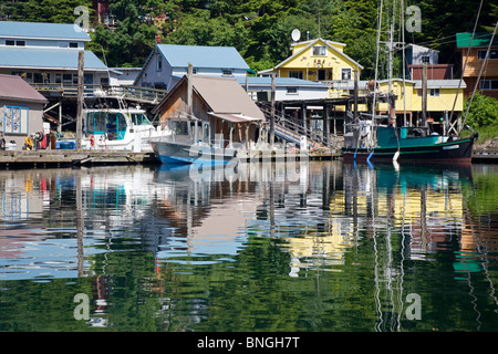 Fishing boats moored at a port, Elfin Cove, Alaska, USA - Stock Photo