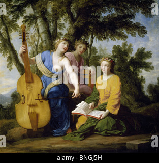 The Muses: Melpomene, Erato, and Polymnia by Eustache Le Sueur, (1617-1655), France, Paris, Musee du Louvre - Stock Photo