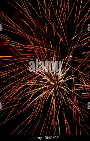 Low angle view of fireworks display at night - Stock Photo