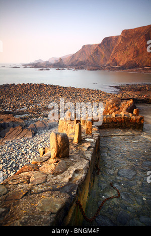 Seaside view at Hartland Quay, Hartland, Devon, United Kingdom - Stock Photo