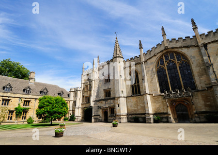 St John's Quad, Chapel, Founders Tower and Presidents lodgings at Magdalen College, Oxford, England, UK - Stock Photo