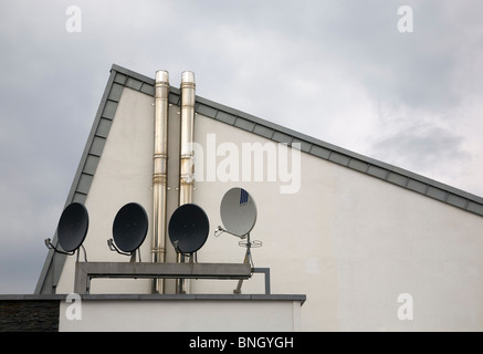 Satellite Communication Dishes on the Cliff Hotel, Ardmore, County Waterford, Ireland - Stock Photo