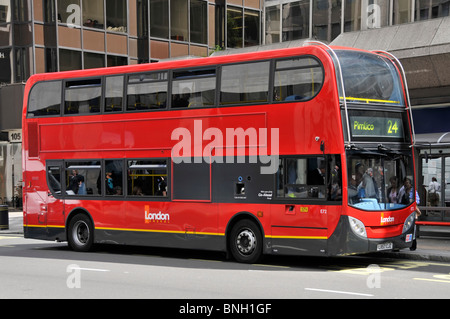 Modern London bus on route 24 for Pimlico - Stock Photo