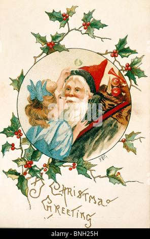Christmas Greetings, Nostalgia Cards - Stock Photo