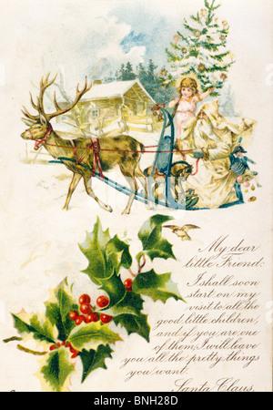 Letter from Santa: My Dear Little Friend, Nostalgia Cards - Stock Photo