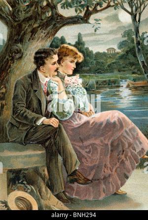Silence Unbroken By Speech, Nostalgia Cards, 1908 - Stock Photo