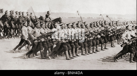 Russian infantry regiment marching in fighting kit during World War I. - Stock Photo