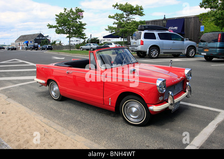 Classic red triumph herald convertible stock photo for Motor vehicle long island