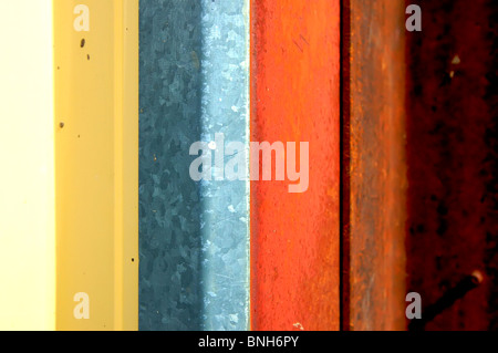 Abstract Colorful Striped Tin Building - Stock Photo