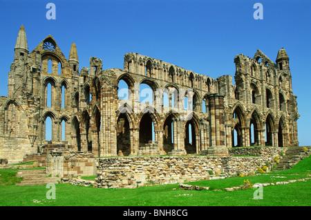 UK United Kingdom Great Britain England North Yorkshire Whitby Whitby Abbey Abbey Religion Religious Tourism Travel - Stock Photo