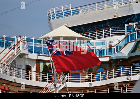 Civil Ensign being flown on Cruise ship CROWN PRINCESS whilst moored at Liverpool's cruise ship terminal - Stock Photo