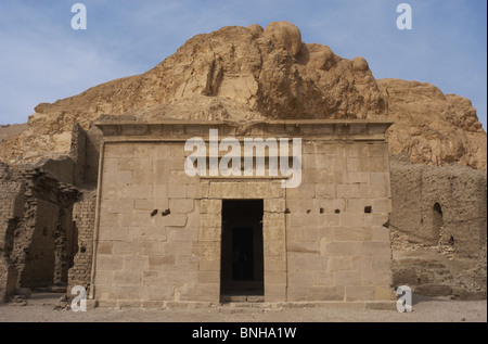 Valley of the Artisans. Ruins of Set Maat's settlement. Temple of Hathor and Maat built in ptolemaic era. Outside - Stock Photo