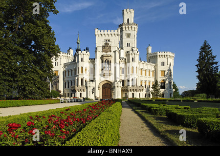 Czech Republic Castle Hluboka nad Vltavou Frauenberg Vltava Bohemian Europe old architecture building famous blue - Stock Photo