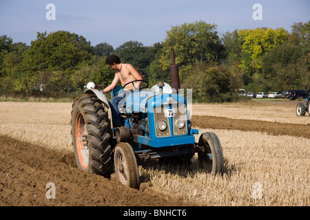 Tractors taking place in a ploughing match Loseley Park, Surrey 2009 - Stock Photo