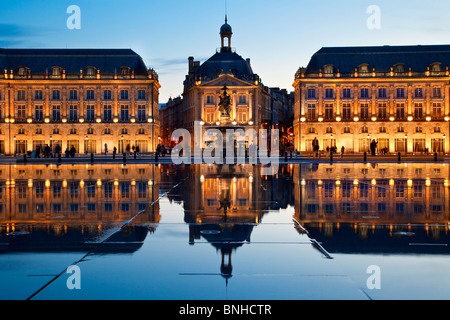 Europe, France, Gironde (33), Bordeaux, Place de la Bourse, Listed as World Heritage By UNESCO - Stock Photo