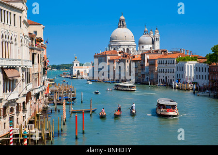 Europe, Italy, Venezia, Venice, Listed as World Heritage by UNESCO, Grand Canal and Santa Maria della Salute - Stock Photo