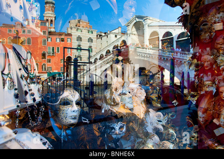Europe, Italy, Venezia, Venice, Listed as World Heritage by UNESCO, Rialto Bridge - Stock Photo