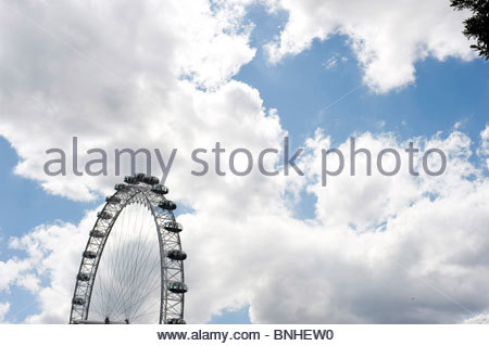 The Millenium Wheel ,The London Eye, on the South Bank in London ,UK - Stock Photo