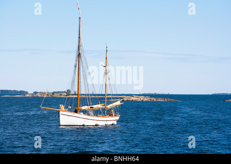 Sweden Stockholm Archipelago Baltic sea Boat Boats Blue Daytime Europe Exterior Island Islands Light Lighthouse - Stock Photo