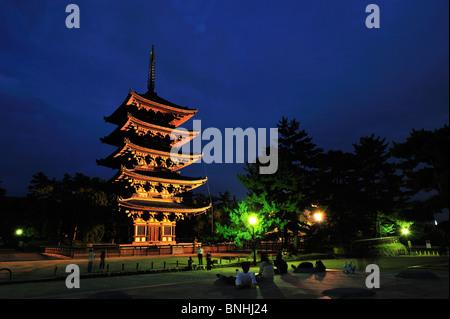 Japan Kofuku-Ji Nara City Nara Prefecture Kansai Honshu island UNESCO World heritage site Architecture Asia Buddhism - Stock Photo
