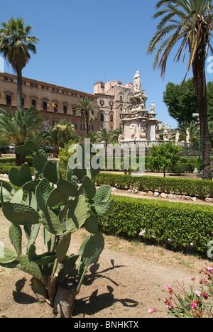 Italy Sicily Palermo city Palazzo dei Normanni palace garden park palm trees cacti - Stock Photo