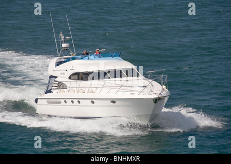 Fairline Squadron luxury motor yacht on the Solent - Stock Photo