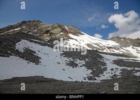 The Rettenbach glacier in Sölden, Austria in July - Stock Photo
