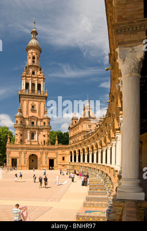 The Plaza de España was built for the Ibero-american Exhibition of 1929, held in Seville. Its creator was Aníbal - Stock Photo