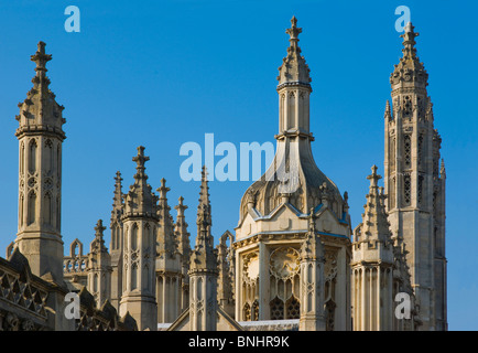 Europe UK England Cambridgeshire Cambridge Kings College Spires City Town University Historic Ancient Intellectual - Stock Photo