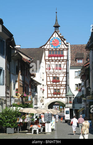 Switzerland Stein am Rhein Canton of Schaffhausen Old town small town painted houses medieval historic historical - Stock Photo